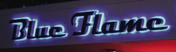 Blue Flame Metal Letters Sign